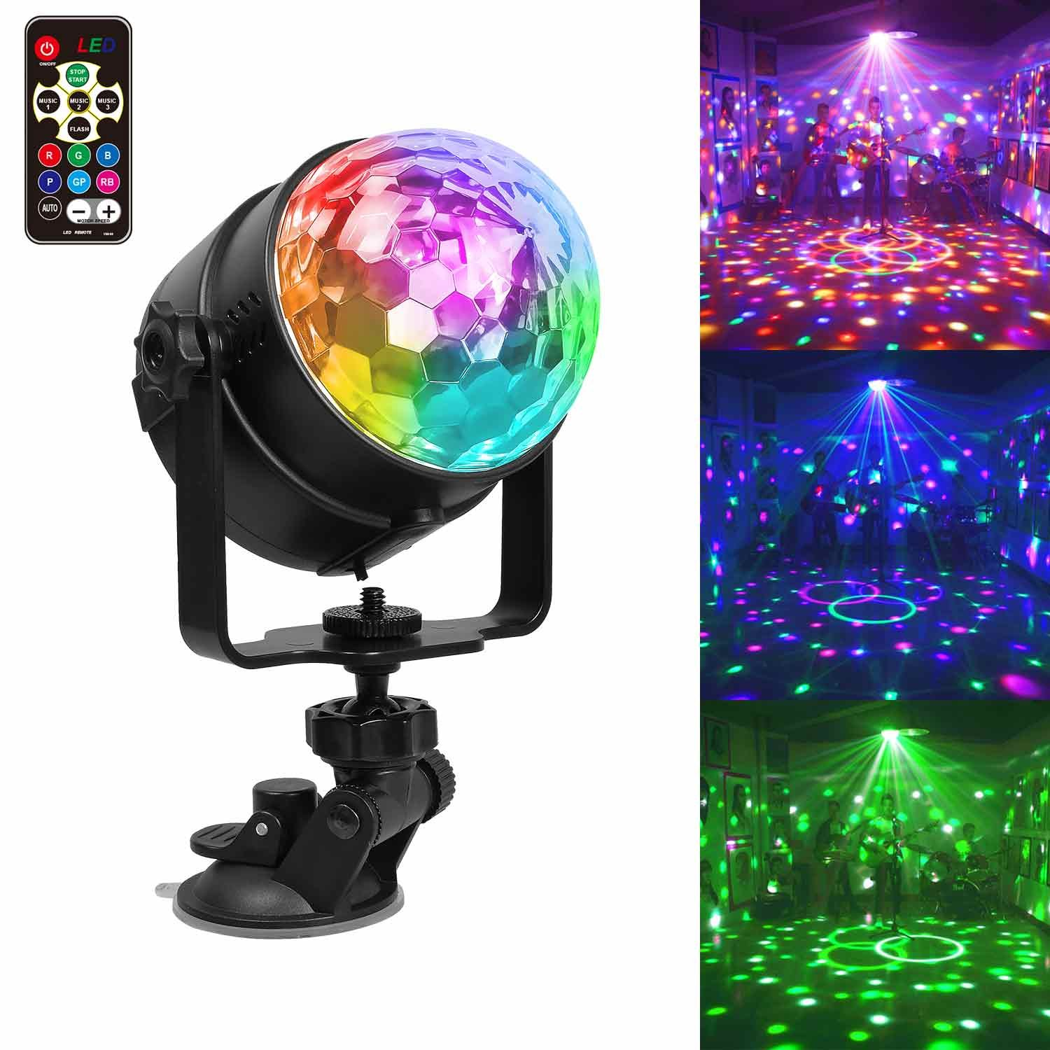 Stage Lights , Chenci Mini Disco DJ Stage Lights 4 Colors RGBP With Remote Control Sound Activated Auto Flash Mini Rotating Crystal Magic Ball Effect Led Stage Lights For KTV Xmas Party Wedding Show Club Pub HOM-00097