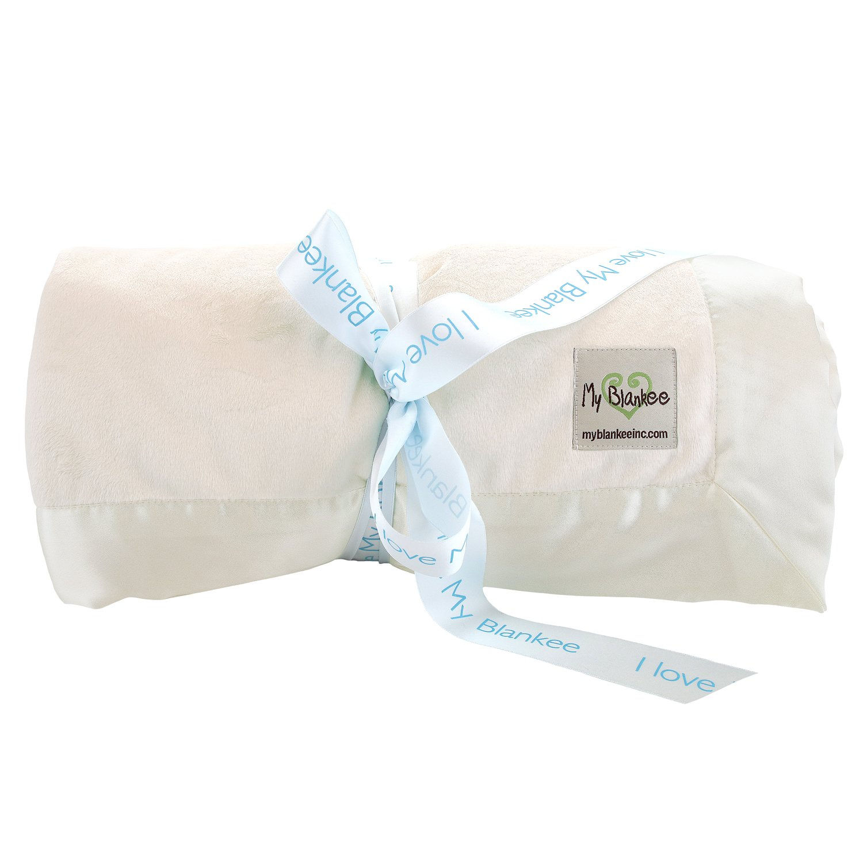 My Blankee Minky Super Throw Blanket with Flat Satin Border, Cream, 60'' x 70''