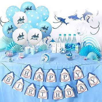 Cozywind Tiburón Fiesta Decoración Set, Tiburón Happy ...