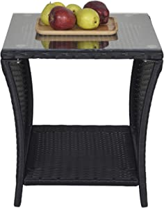 SUNVIVI OUTDOOR Patio Wicker Side Table,Small End Coffee Table for Outdoor,Porch Square Table with Glass Top, Storage, Black, Steel Frame