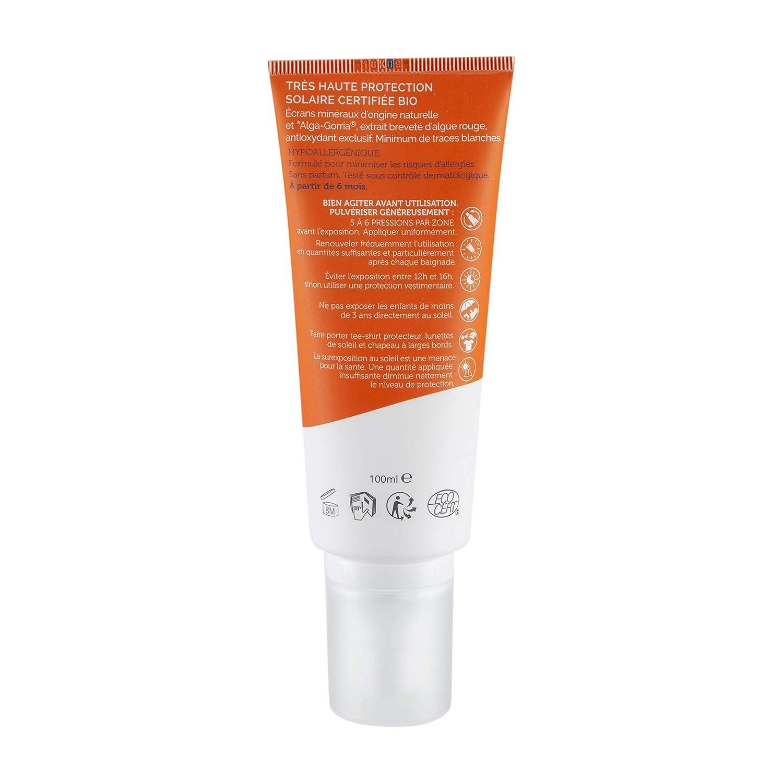 0d46b2ec3b Algamaris Spray Solaire Spf50+ Certifiée Bio, Très Haute Protection Solaire  Naturelle, Formule Hypoallergénique, Sans Conservateur, Sans Parfum- 100ml:  ...