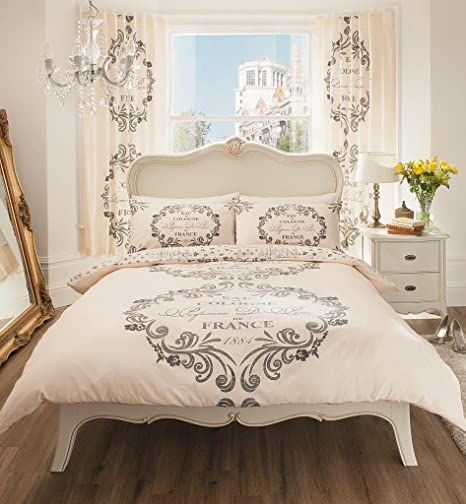 Gaveno Cavailia Luxurious SCRIPT PARIS Bed Set With Duvet Cover And Pillow  Case, Polyester
