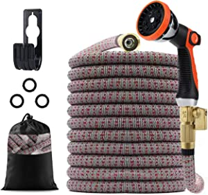 CGKJ Expandable Garden Hose 25ft with Extra Strength Fabric Triple Layer Latex Core, Flexible Water hose 3/4
