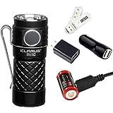 Klarus Mi1C 600 Lumens CREE XP-L HI V3 LED Side Switch EDC Flashlight 16340 Mini Bright Flashlight, with 1x16340 Battery, Wall Adapter,Car Charger and SKYBEN USB Light (Black)