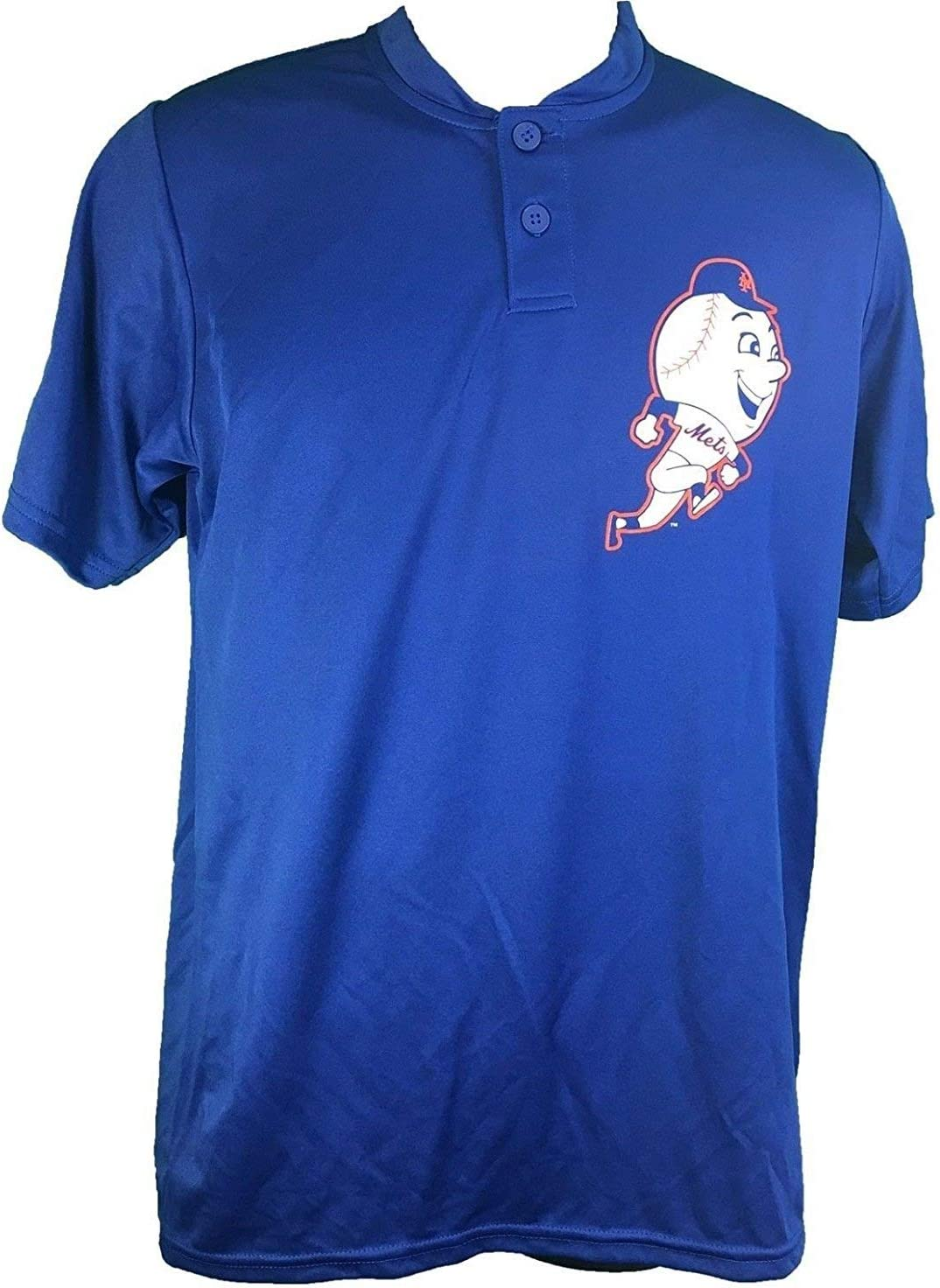Majestic New York Mets Cooperstown Collection Two Button Dri Fit Jersey T-Shirt