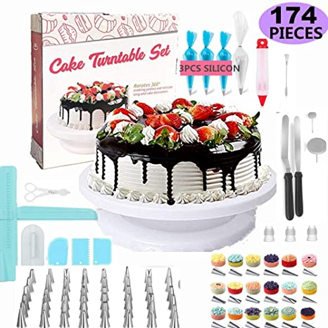 Cake Decorating Supplies Baking Supplies 174pcs W Cake Rotation Turnable Stand Frosting Piping Bags Back Kit Set Icing Spatulas Pastry Tools
