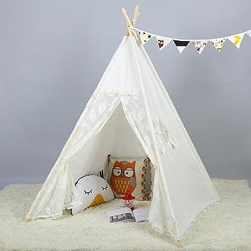 Steegic Portable Kids Cotton Canvas Teepee Indian Play Tent Playhouse - Lace & Amazon.com: Steegic Portable Kids Cotton Canvas Teepee Indian Play ...