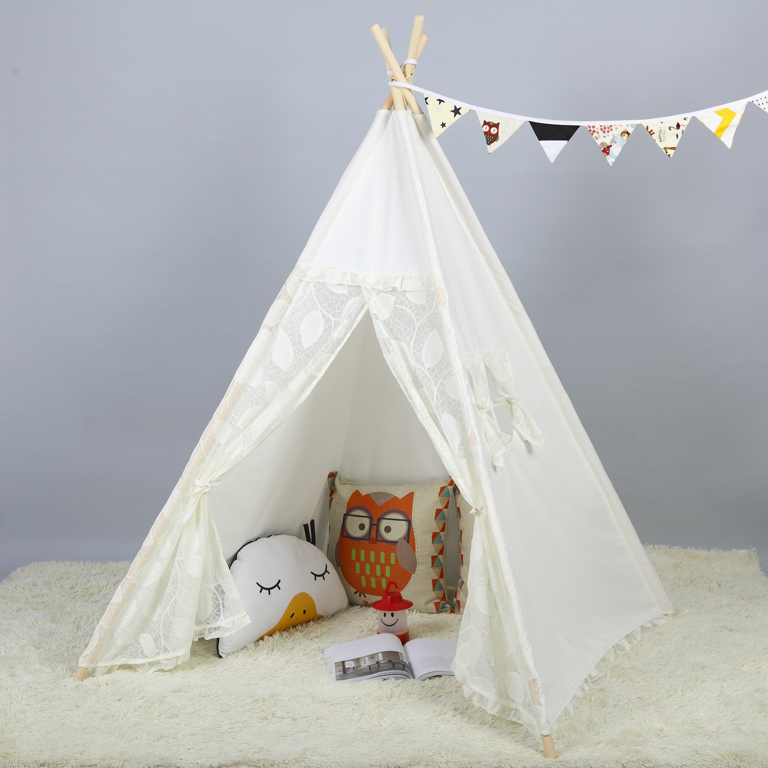 Steegic Portable Kids Cotton Canvas Teepee Indian Play Tent Playhouse - Lace