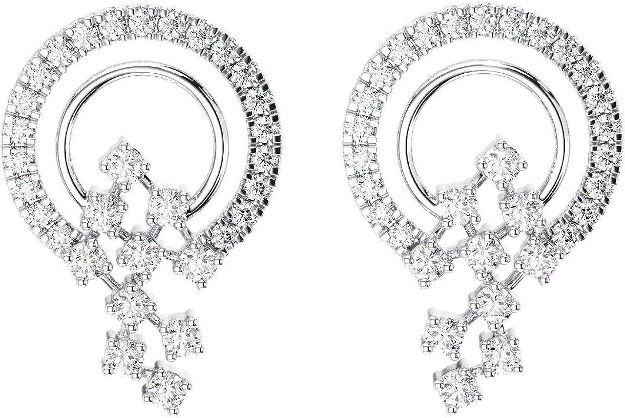Pendientes redondos de 0,30 quilates con forma de círculo abierto de diamante de corte brillante en oro blanco de 18 k.