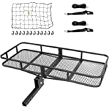 Ark Motoring Hitch Cargo Carrier with Tie Down Straps and Net, 60 x 24 x 6-Inch, 500 lbs Capacity, 2-Inch Folding Shank…