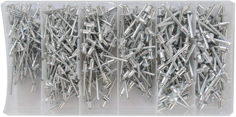 Surtido de 400 remaches ciegos de aluminio para remachadora 2.4 a 4.8mm