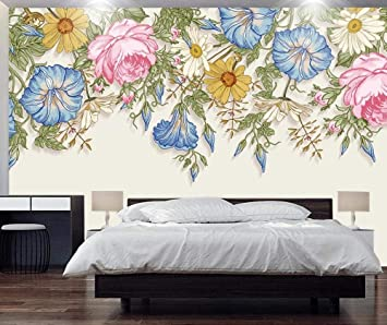 3d Wallpaper Tv Wall Decor Stickerr Hand Painted Watercolor Flowers Minimalist Modern Wall Paper Wall Stickers For Bedroom Decor Amazon Com