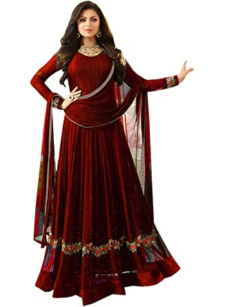 109f4a823 Designer Indian Ethnic Partywear Maroon Embroidered Georgette Anarkali Gown  Semi-Stitched Salwar Suit at Amazon Women's Clothing store: