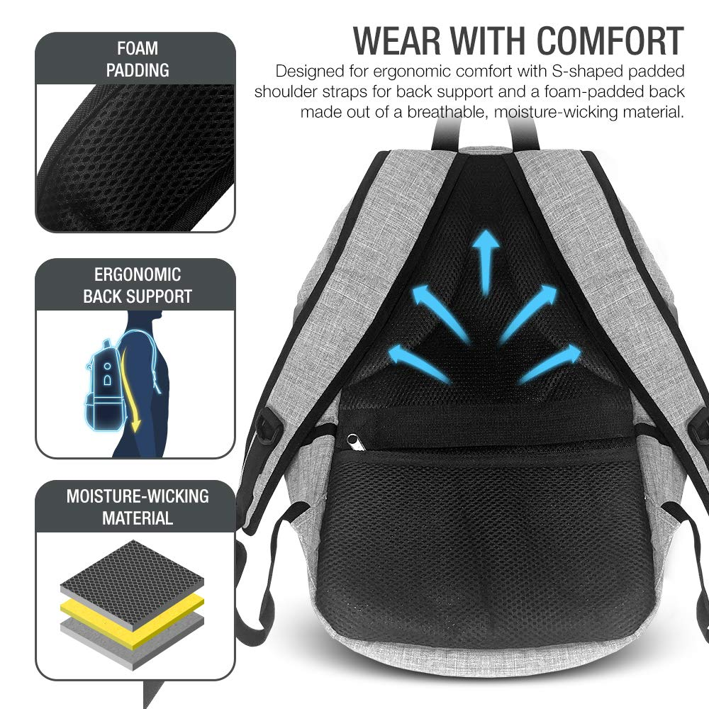 XDesign Travel Laptop Backpack with USB Charging Port +Anti-Theft Lock [Water Resistant] Slim Durable College School Computer Bookbag for Women, Men, Outdoor Camping&Fits Up to 16-inch Notebook -Grey by XDesign  (Image #6)