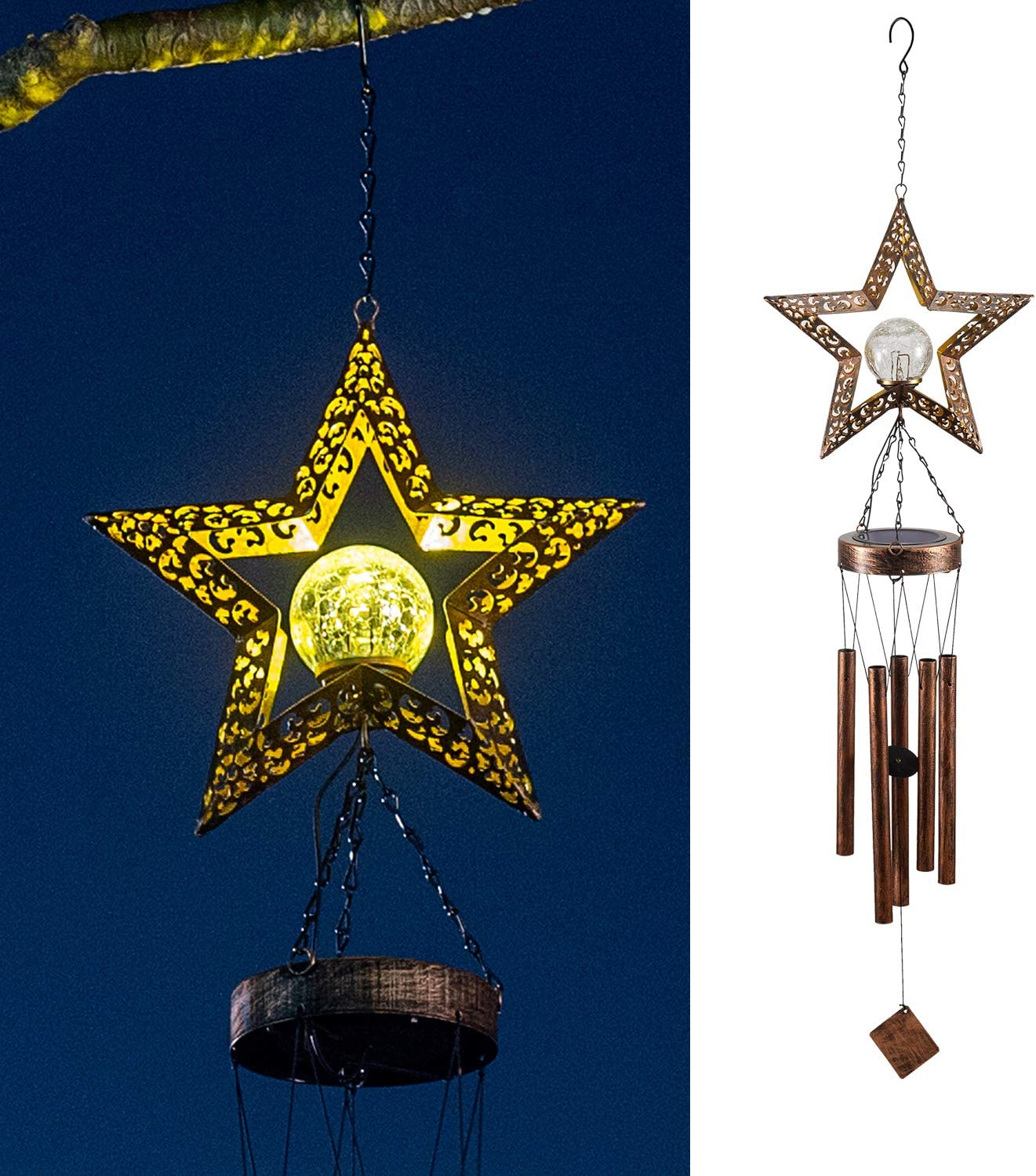 LeiDrail Solar Wind Chimes for Outside Hanging Star Crackle Ball Decoration Warm White LED Lights with Metal Tubes Waterproof Outdoor for Garden Patio Thanksgiving Yard Décor Memorial Gifts