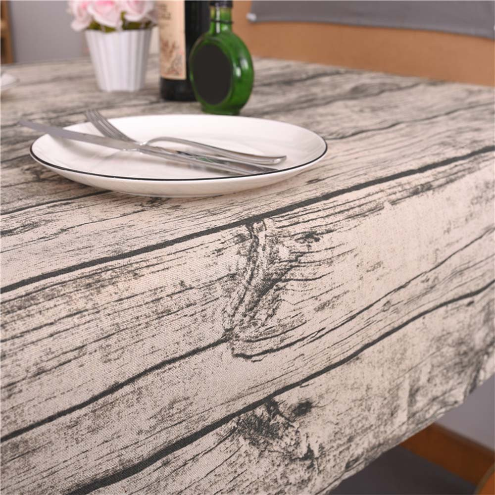 Rectangle Tablecloth Farmhouse Style Vintage Wood Grain Printing Waterproof Oilproof Tablecovers 100x140CM Perfect for Holiday Home Decor (A) by Aibiner -Home & Kitchen (Image #3)