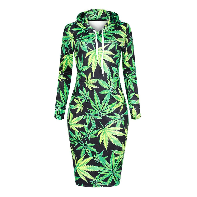 Pasban Spring Women Sweatshirts Dress Green Maple Leaf 3D Printed Dress Mini Top Hoodies Womens Sweatshirts at Amazon Womens Clothing store: