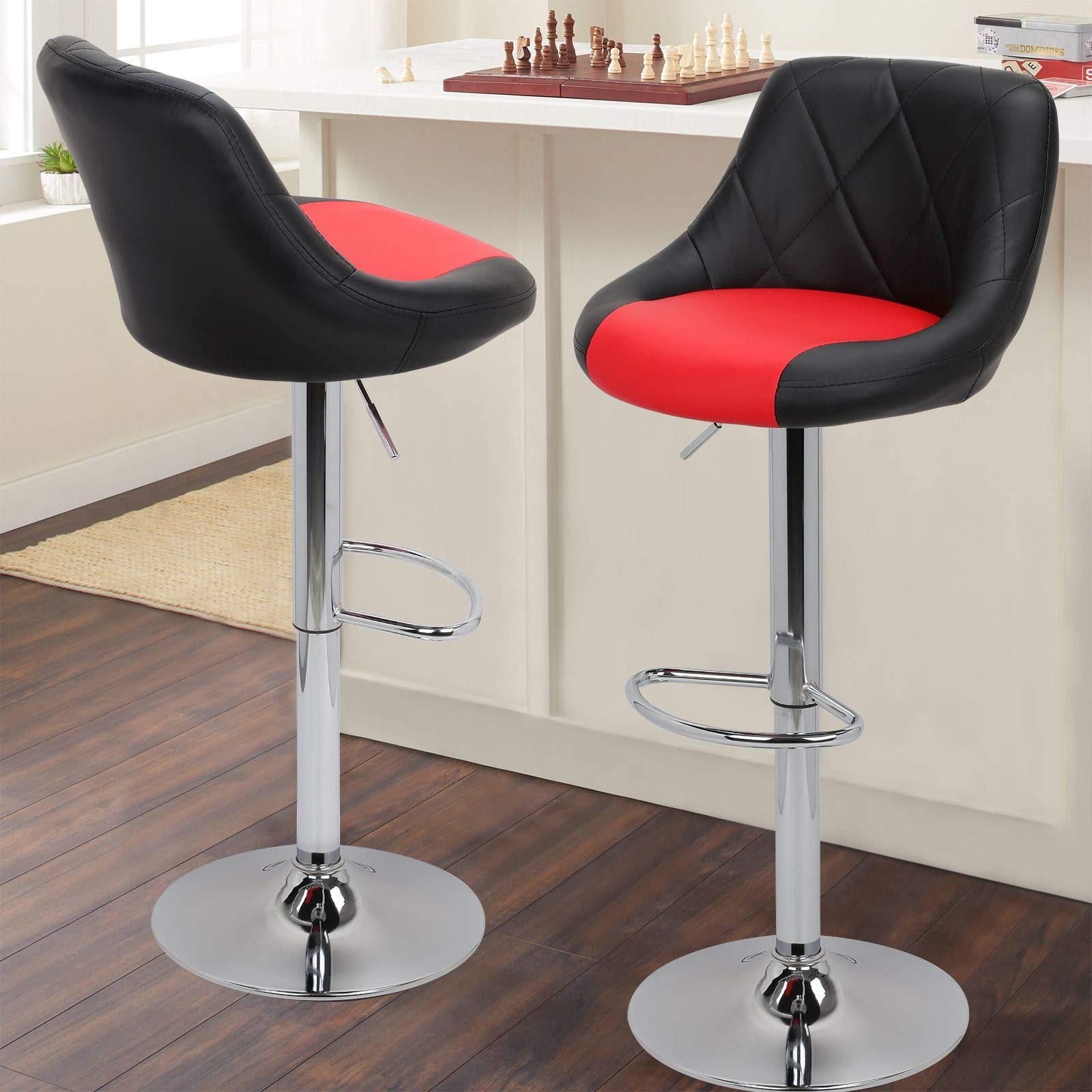 Magshion Mixed Color Model Stool Chair Dining Counter Bar Pub-Set of 2 (Black/Red) by Magshion