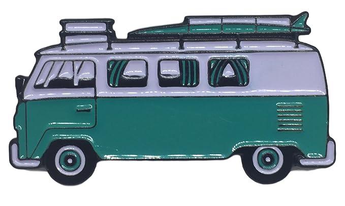 974bb6a484 Amazon.com  VW Surf Van Bus Happy Camper Aqua Enamel Lapel Pin 1.5 ...