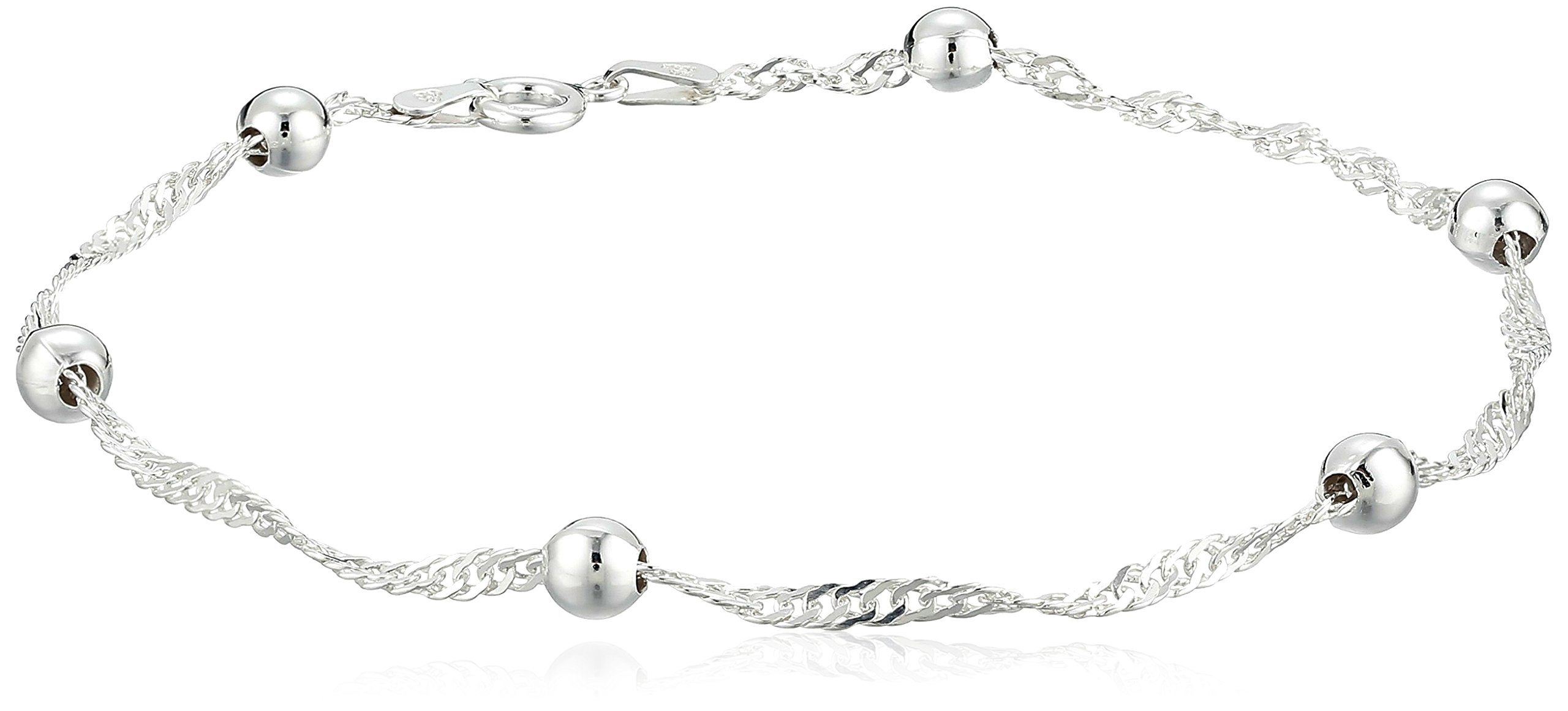 Sterling Silver 2.3mm Singapore-Chain Anklet, 9''