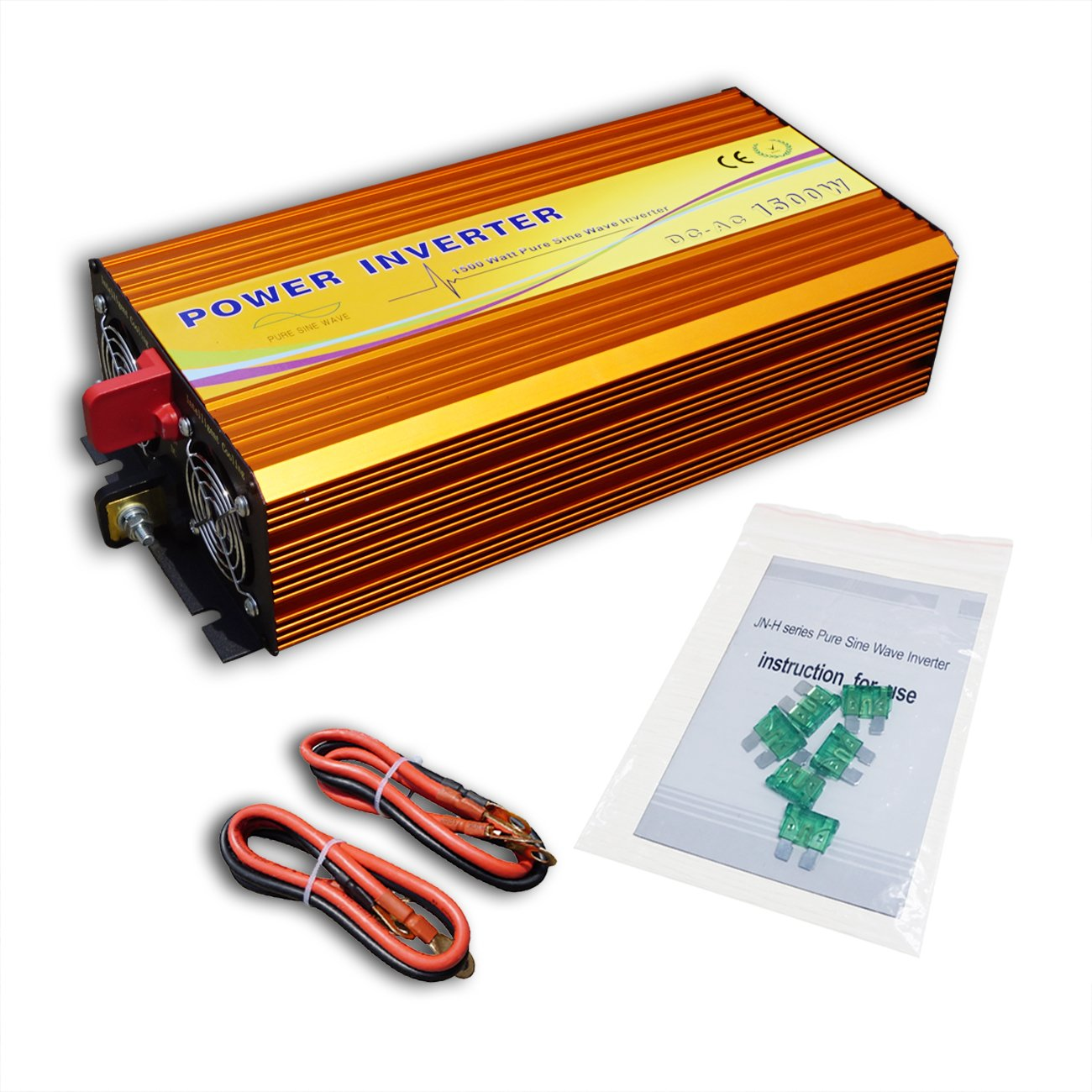 1500W Off Grid Pure Sine Wave Inverter DC 12V to AC 110V for Solar Panel System by ECO-WORTHY