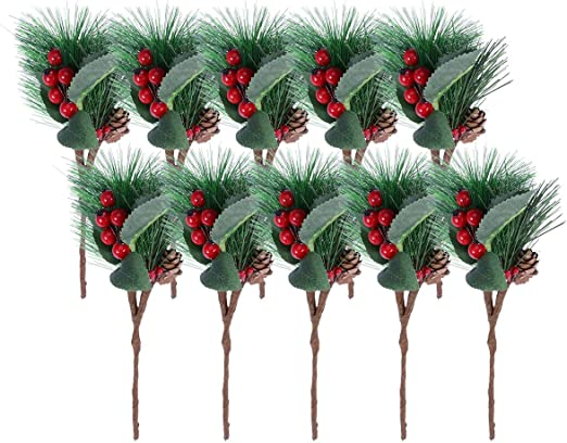 10pcs Christmas Artificial Flower Berry And Pine Cone With Holly Branches Decor