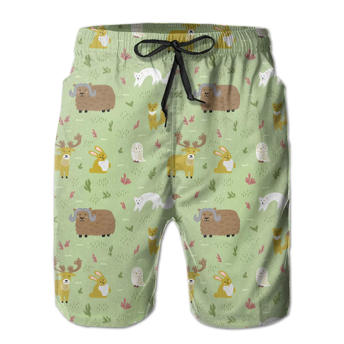Polyester Arctic Nature and Animals Pattern Swimsuit with Pockets Mens Casual Beach Shorts