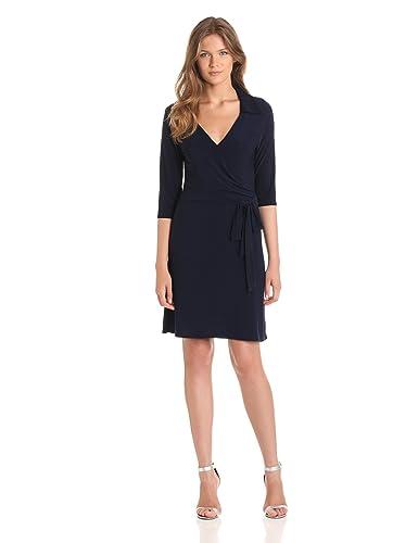 Star Vixen Women's Three-Quarter-Sleeve Faux Wrap Dress