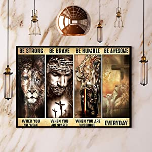 God Jesus Be Strong Brave Humble Awesome Religious Poster, Faith Gifts for Christians Unframed Poster, Horizontal Paper Poster, Wall Art, Home Décor