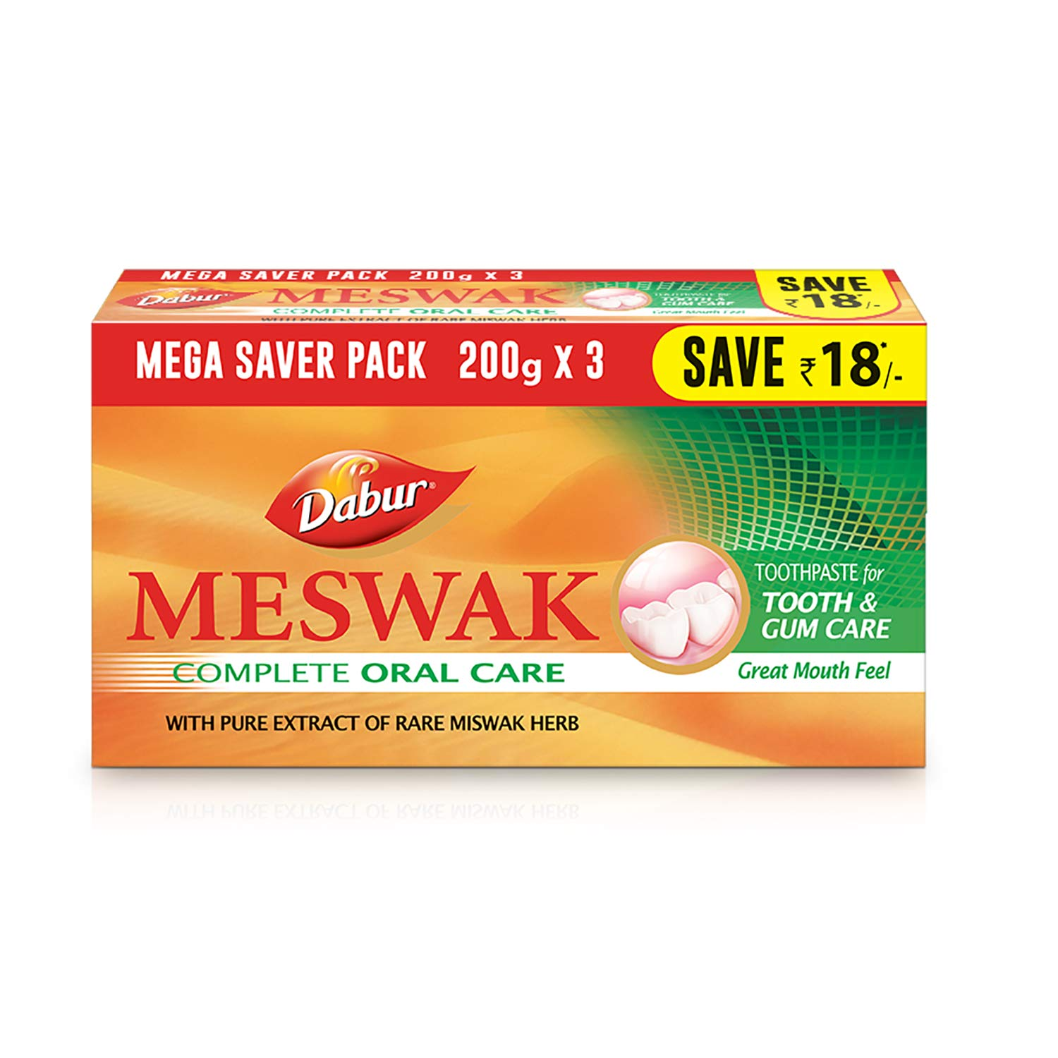 Dabur Meswak: India's No-1 Fluoride Free Toothpaste with Antibacterial, Anti Inflammatory & Astringent benefits |Helps fight Plaque, Tartar, Cavity and Tooth Decay - 600gm(200g*3)