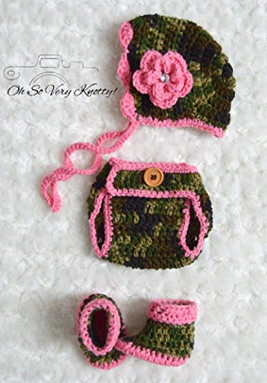 c1989186ba8 Handmade Baby Boy Girly Camouflage Hat Boots Diaper Cover Crochet Military  Oufit (Bonnet
