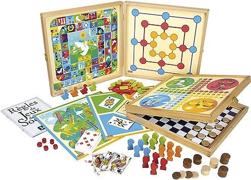 Jeujura 8120 Jeux De Societe Coffret De Jeux Classiques 80 Regles Pions Bois Amazon Fr Jeux Et Jouets