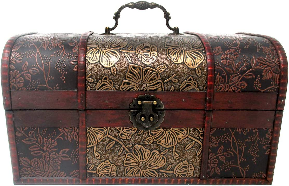 Small Vintage Decorative Wood Suitcase Chest by Trademark Innovations