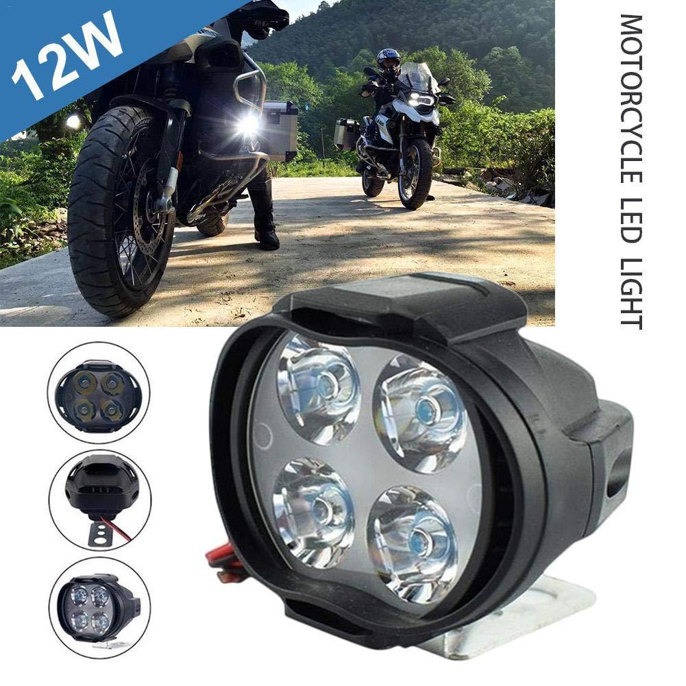 Haute Puissance 12W 12V 4-LEDs Lumineux Phare Blanc Moto pour Moto Feux de Travail gaeruite Phares antibrouillard /à LED de Moto