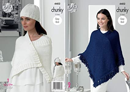 Amazon King Cole Ladies Poncho Wrap And Hat Knitting Pattern