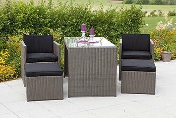 MERXX 11 tlg. Gartenmöbelset Merano, 2 Sessel, 2 Hocker, 1 Tisch