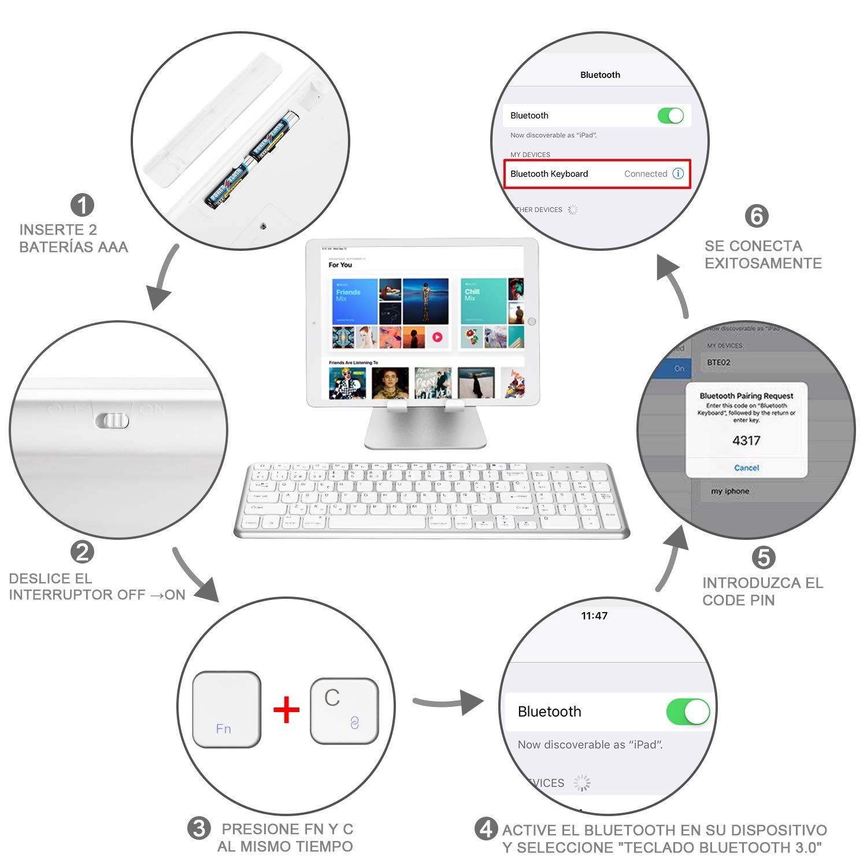 Teclado Espa/ñol OMOTON Teclado Bluetooth Compatible con iPad y iPhone Teclado en Espa/ñol Material Ligero Teclado iOS con Teclado Num/érico Teclado Inal/ámbrico Color Plata con Teclas Blancas