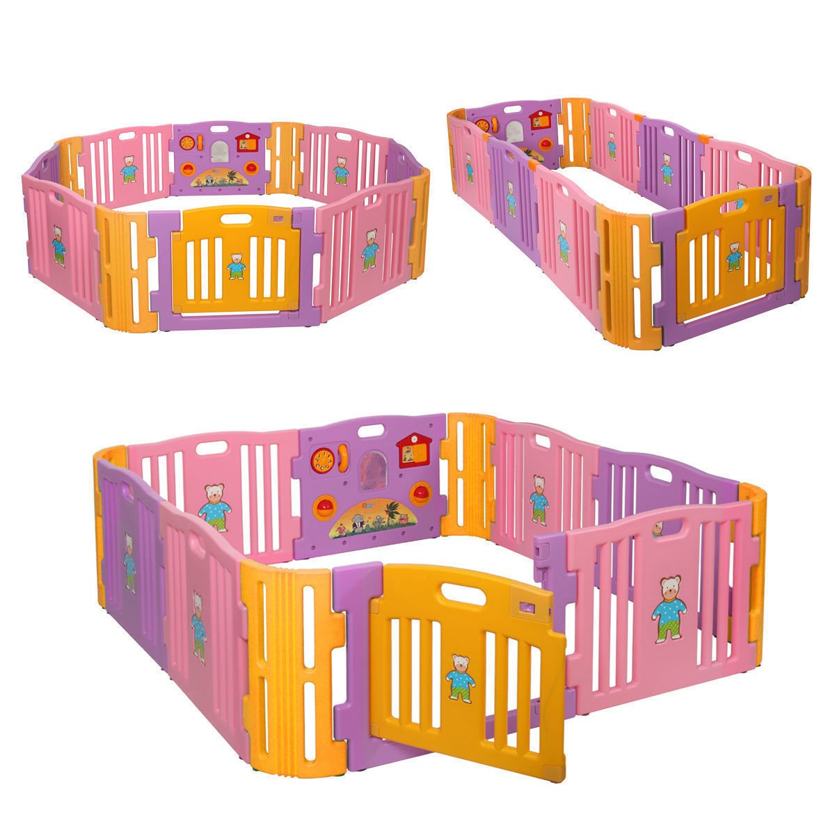 JAXPETY Baby Playpen Kids Safety Play Center Yard Home Indoor Outdoor New Pen (8+4, Pink and Yellow)
