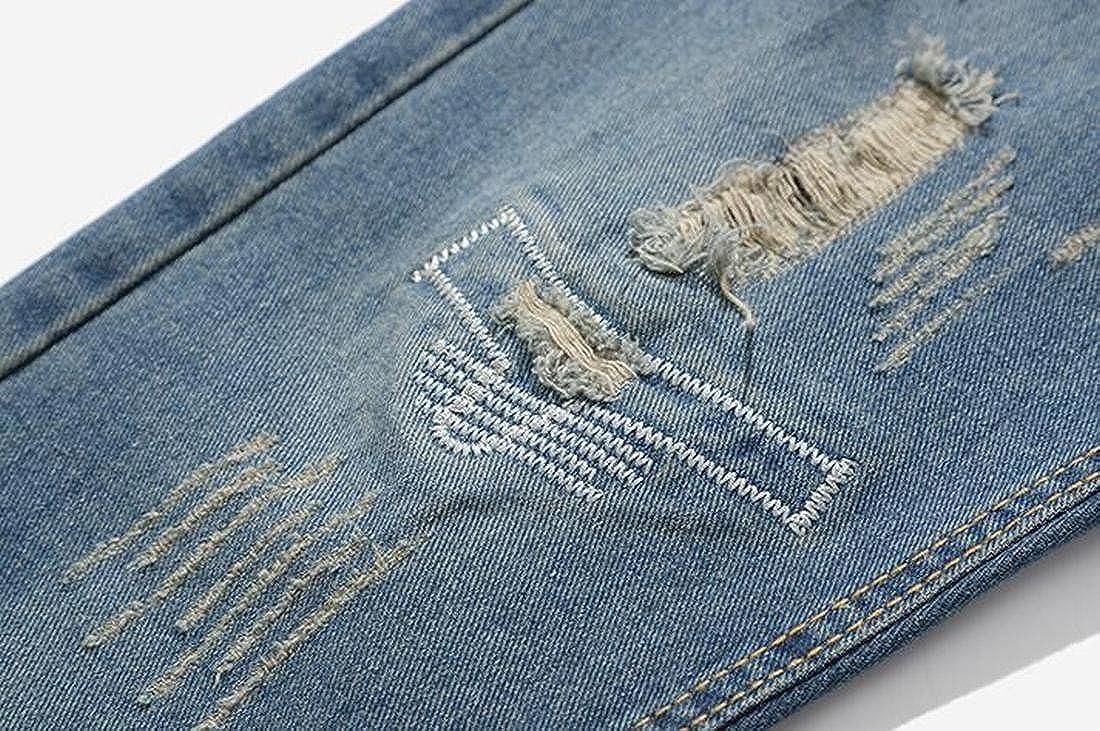 SHOWNO Mens Ripped Holes Straight Leg Harem Casual Slim Denim Jeans Pants
