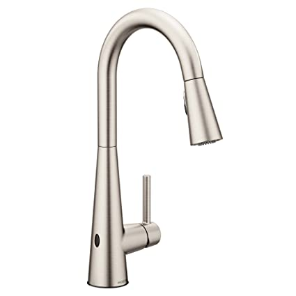 Moen 7864EWSRS Sleek Reflex Motionsense Wave Sensor Touchless One-Handle  High Arc Pulldown Modern Kitchen Faucet Featuring Power Clean, Spot Resist  ...