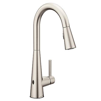 Bon Moen 7864EWSRS Sleek Motionsense Wave Sensor Touchless One Handle High Arc  Pulldown Kitchen Faucet Featuring