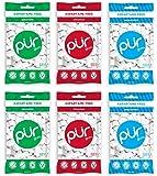 PUR Gum 3 Flavor Assortment Spearmint, Cinnamon, Peppermint, (Pack Of 6)
