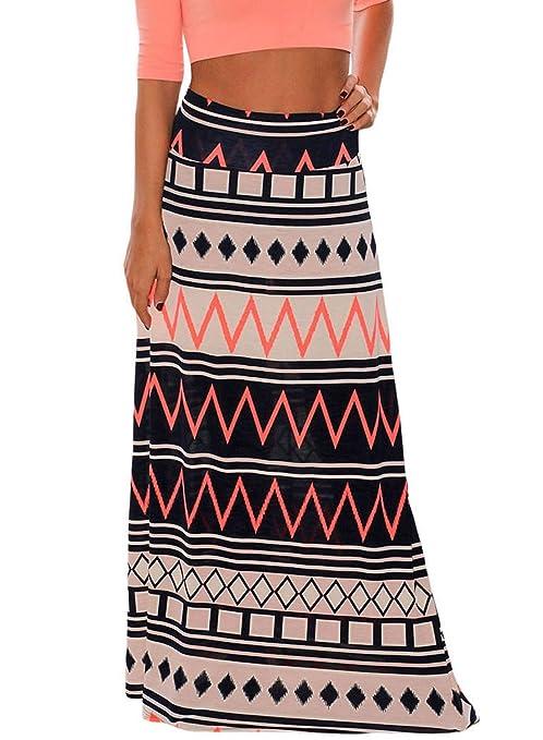 Alvaq Women Coral Print Long Maxi Skirt Bohemian Holiday