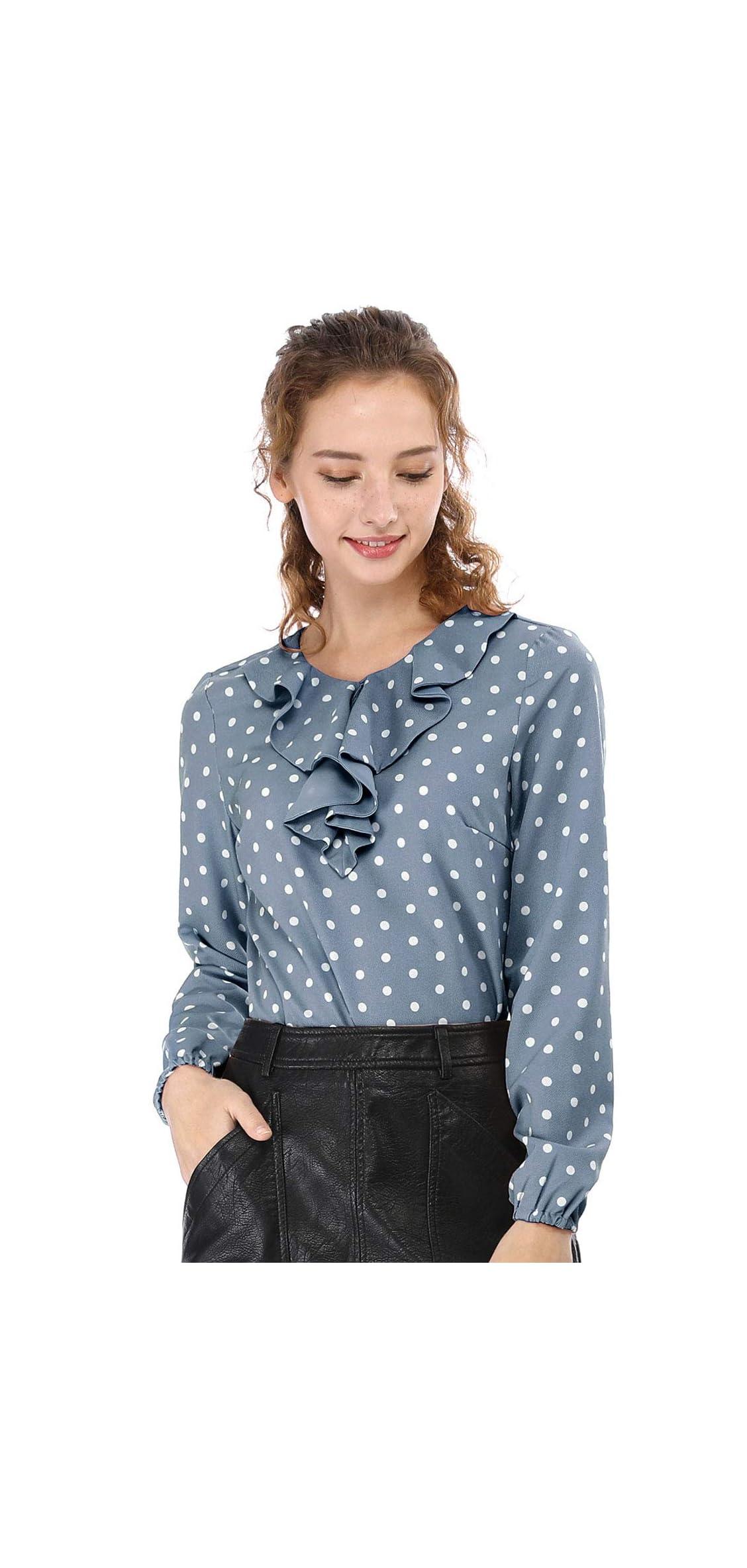 Women's Ruffle Neck Long Sleeve Vintage Polka Dots