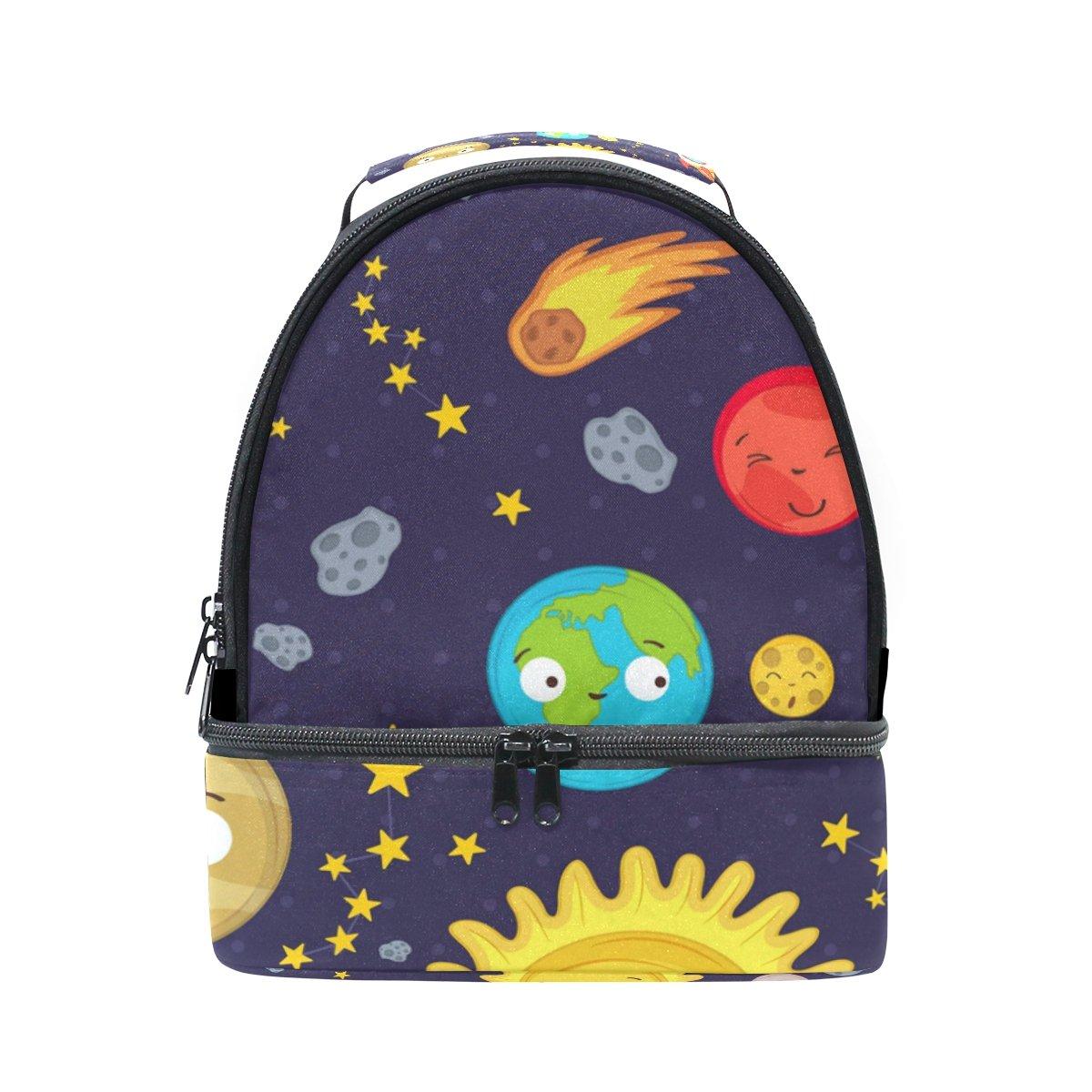 U LIFE Cute Emoji Solar Sun Earth Planets Stars Universe Space Insulated Lunch Bag Bags Box Tote for Kids Girls Boys Women Men