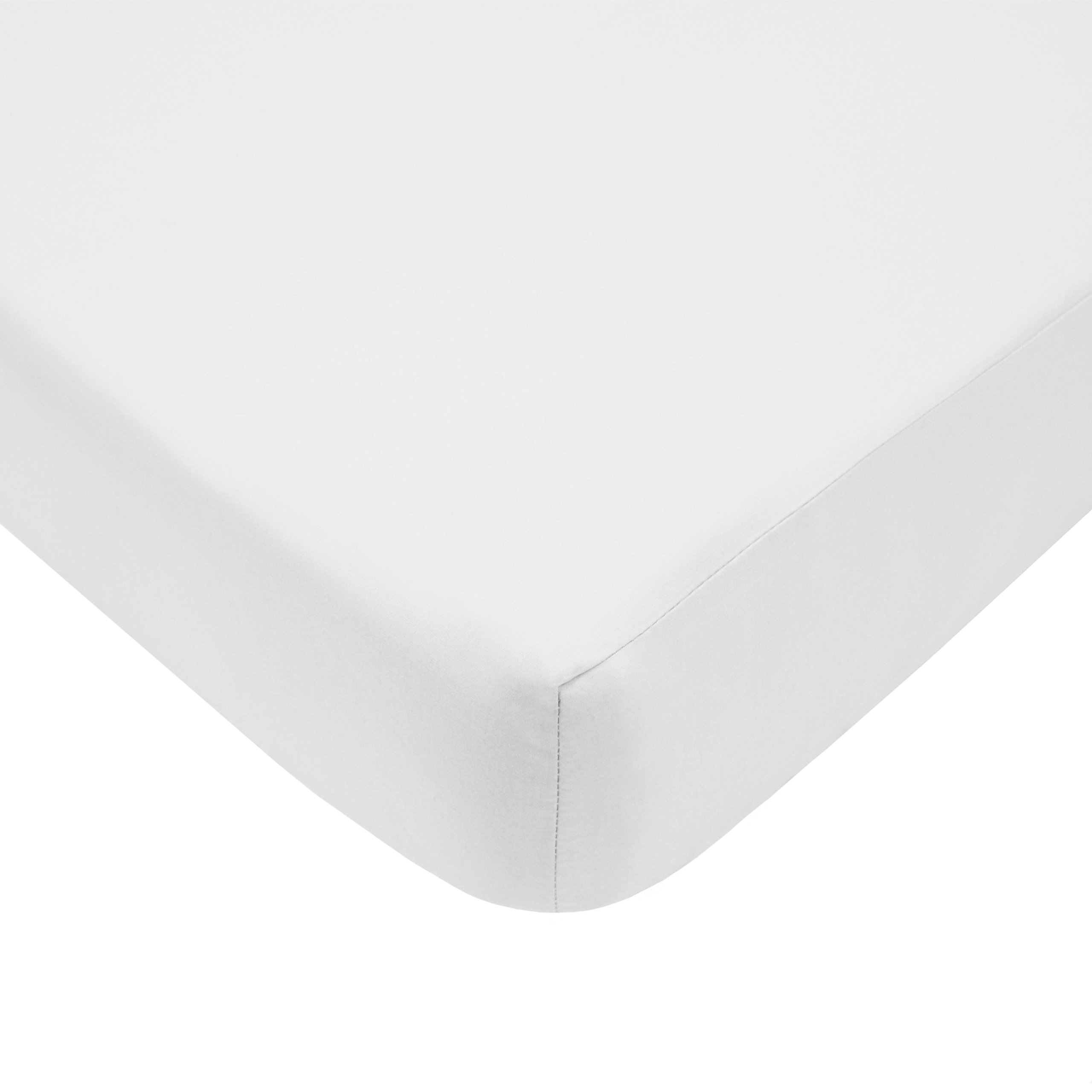 American Baby Company 100% Cotton Percale Fitted Crib Sheet for Standard Crib and Toddler Mattresses, White