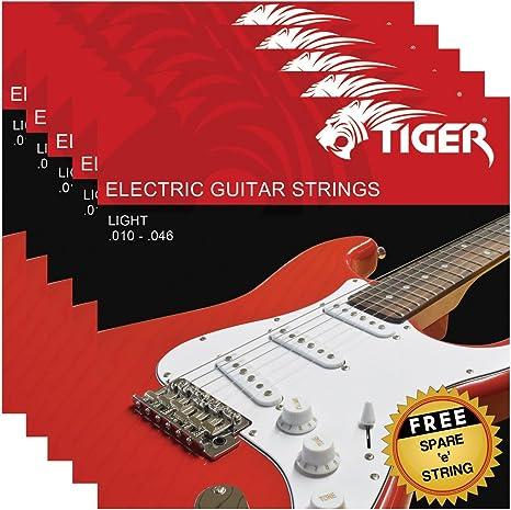 Tiger - Cuerdas para guitarra eléctrica – Pack de 5 juegos de ...