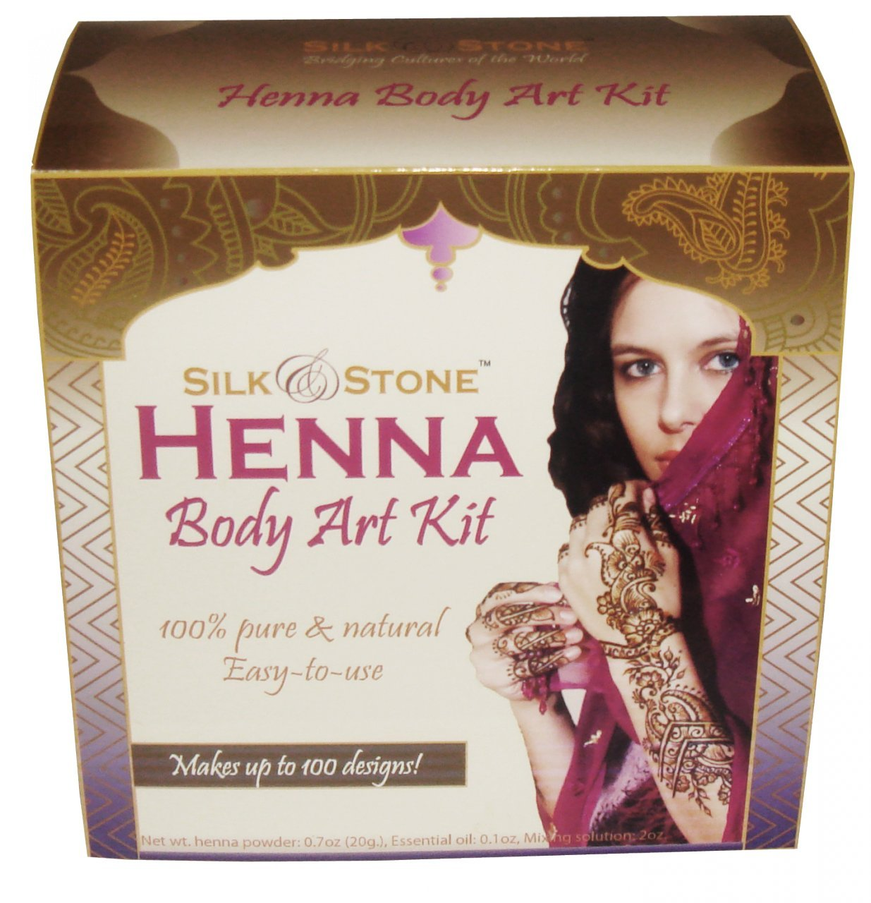 100% Natural Henna Body Art Kit for temporary Tattoos, Safe and best Silk & Stone