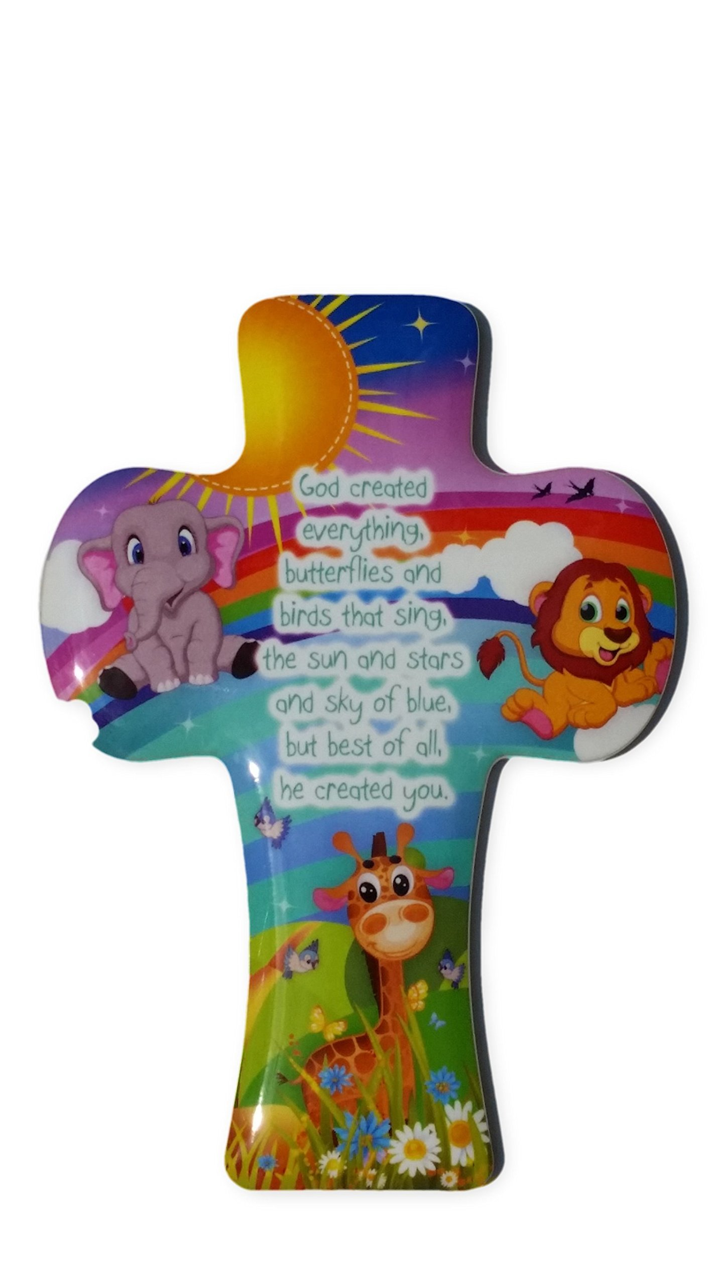 Inspire Nation Kids Wall Cross Plaque with Rainbow Jungle Elephant Giraffe Lion 5.5 inches