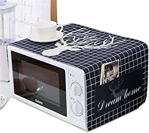 Ammsochy Microwave Oven Cover Dust Oil Proof Cloth with Storage Pockets Cotton Linen Kitchen Toaster Appliance Protector (Black grids Deer)